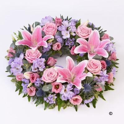 Rose and Lily Wreath   Pink and Lilac